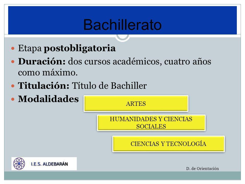 Bachillerato Etapa postobligatoria Duración: dos cursos académicos, cuatro años como máximo. Titulación: Título de Bachiller Modalidades D. de Orienta