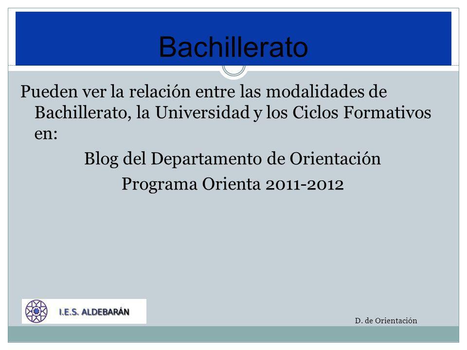 Pueden ver la relación entre las modalidades de Bachillerato, la Universidad y los Ciclos Formativos en: Blog del Departamento de Orientación Programa