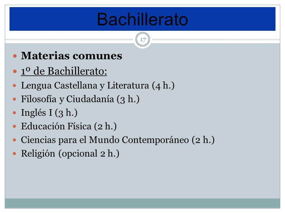 17 Materias comunes 1º de Bachillerato: Lengua Castellana y Literatura (4 h.) Filosofía y Ciudadanía (3 h.) Inglés I (3 h.) Educación Física (2 h.) Ci