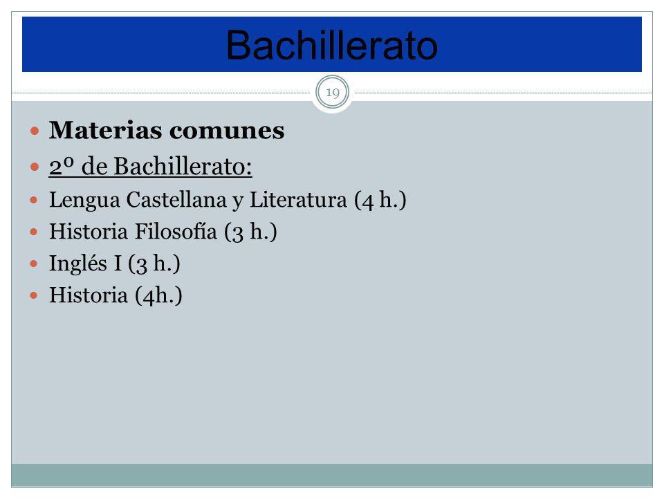 19 Materias comunes 2º de Bachillerato: Lengua Castellana y Literatura (4 h.) Historia Filosofía (3 h.) Inglés I (3 h.) Historia (4h.) Bachillerato