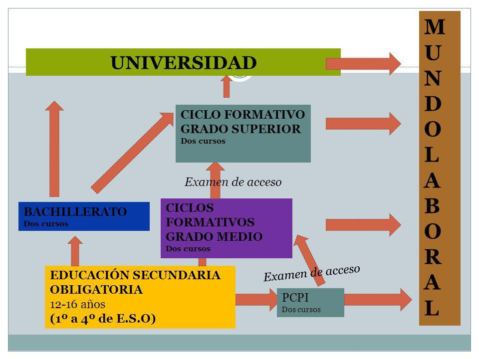 EDUCACIÓN SECUNDARIA OBLIGATORIA 12-16 años (1º a 4º de E.S.O) BACHILLERATO Dos cursos CICLOS FORMATIVOS GRADO MEDIO Dos cursos UNIVERSIDAD CICLO FORM