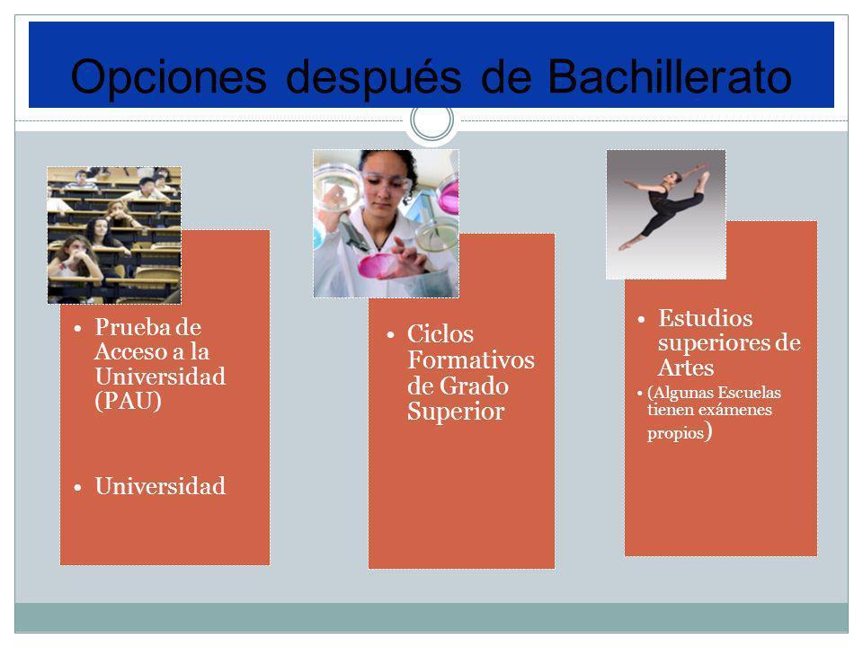 Prueba de Acceso a la Universidad (PAU) Universidad Ciclos Formativos de Grado Superior Estudios superiores de Artes (Algunas Escuelas tienen exámenes