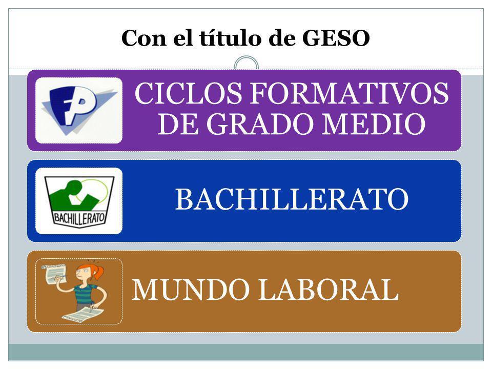 Con el título de GESO CICLOS FORMATIVOS DE GRADO MEDIO BACHILLERATO MUNDO LABORAL