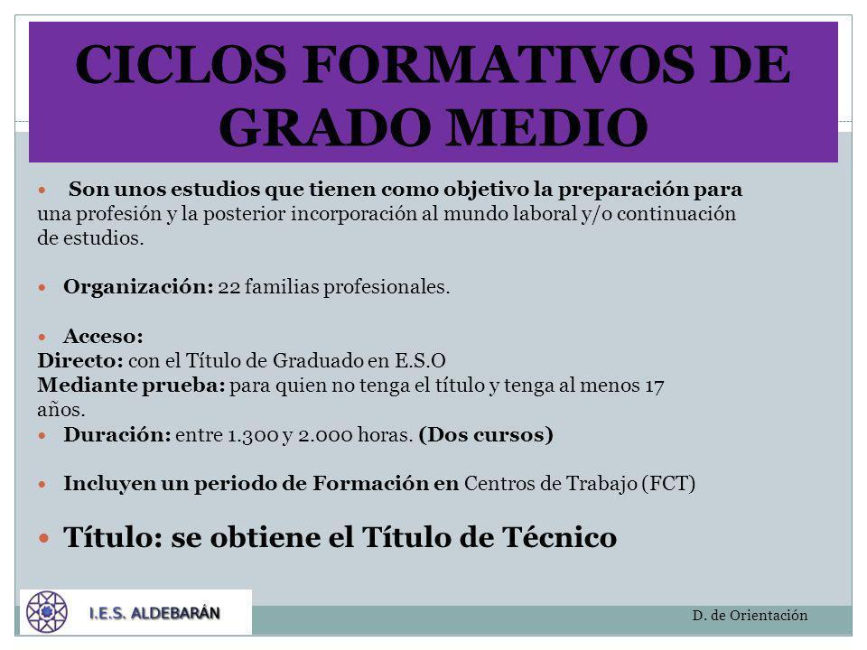 CICLOS FORMATIVOS DE GRADO MEDIO Son unos estudios que tienen como objetivo la preparación para una profesión y la posterior incorporación al mundo la