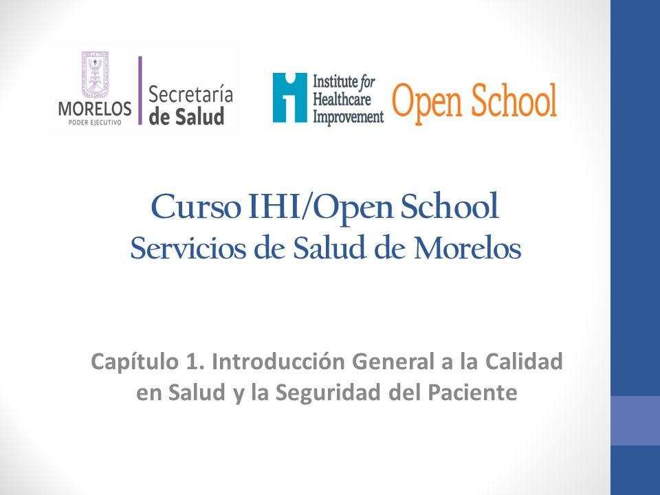 Curso IHI/Open School Servicios de Salud de Morelos Capítulo 1. Introducción General a la Calidad en Salud y la Seguridad del Paciente