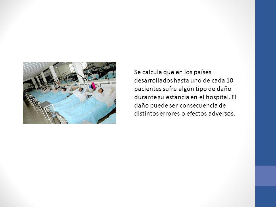 Se calcula que en los países desarrollados hasta uno de cada 10 pacientes sufre algún tipo de daño durante su estancia en el hospital. El daño puede s