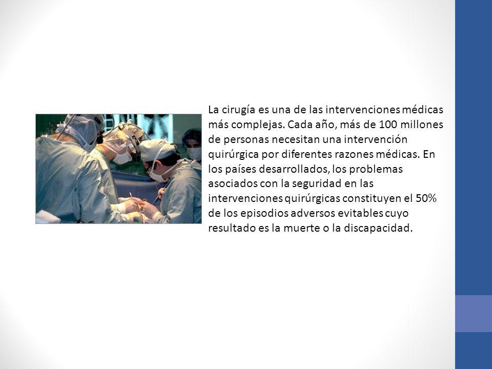 La cirugía es una de las intervenciones médicas más complejas. Cada año, más de 100 millones de personas necesitan una intervención quirúrgica por dif