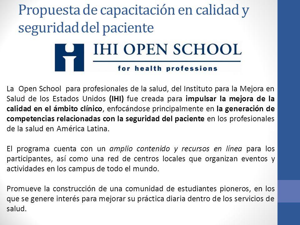Propuesta de capacitación en calidad y seguridad del paciente La Open School para profesionales de la salud, del Instituto para la Mejora en Salud de