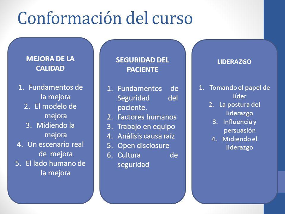 Conformación del curso MEJORA DE LA CALIDAD 1.Fundamentos de la mejora 2.El modelo de mejora 3.Midiendo la mejora 4.Un escenario real de mejora 5.El l
