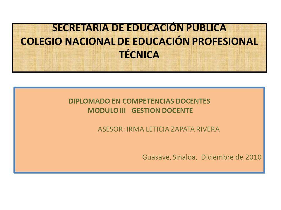 SECRETARIA DE EDUCACIÓN PUBLICA COLEGIO NACIONAL DE EDUCACIÓN PROFESIONAL TÉCNICA DIPLOMADO EN COMPETENCIAS DOCENTES MODULO III GESTION DOCENTE ASESOR