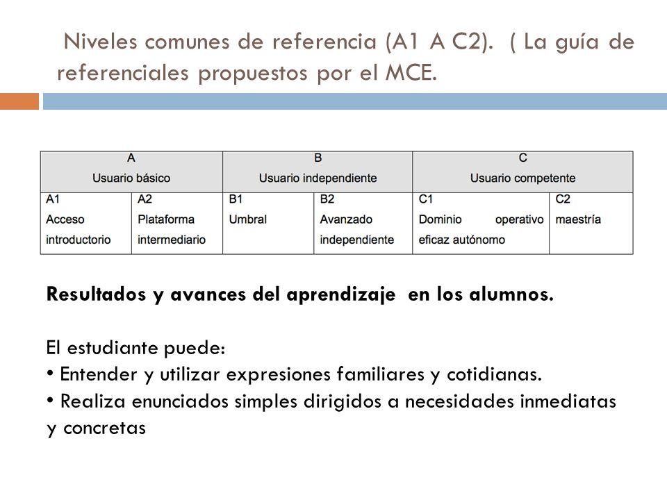 Niveles comunes de referencia (A1 A C2). ( La guía de referenciales propuestos por el MCE.