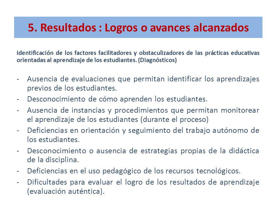 5. Resultados : Logros o avances alcanzados Identificación de los factores facilitadores y obstaculizadores de las prácticas educativas orientadas al