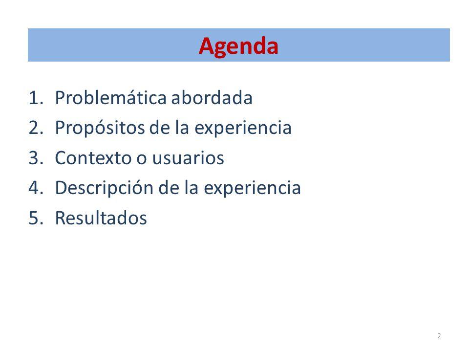 Agenda 1.Problemática abordada 2.Propósitos de la experiencia 3.Contexto o usuarios 4.Descripción de la experiencia 5.Resultados 2
