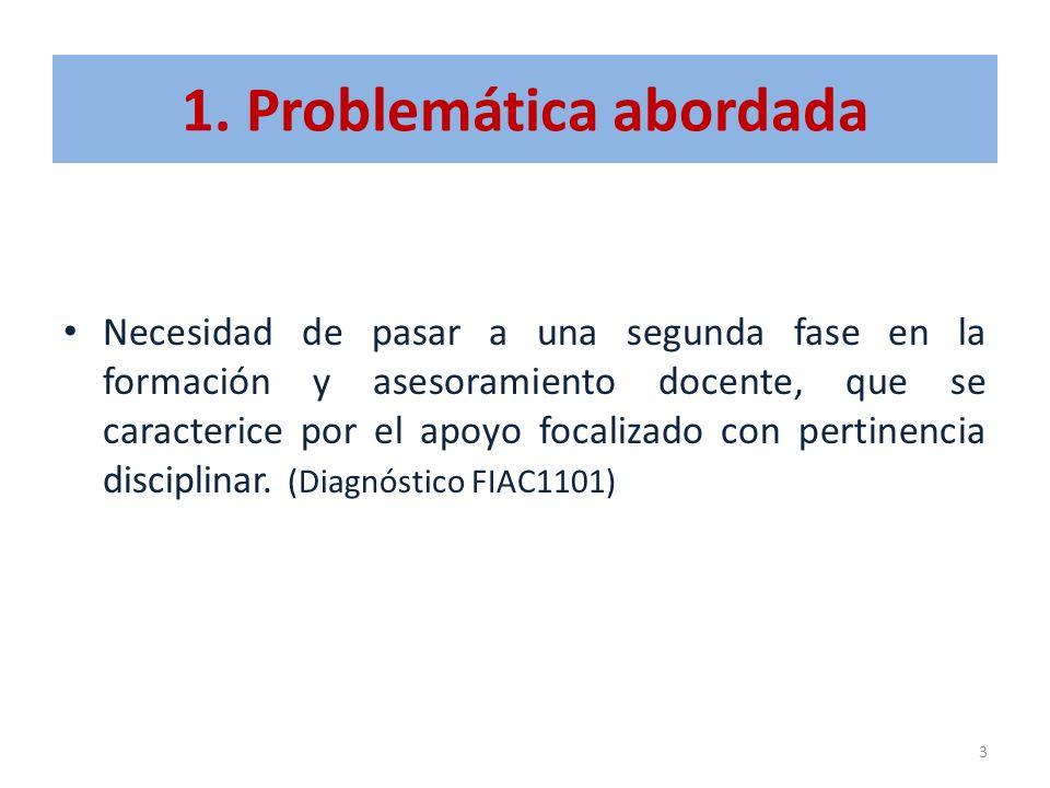 1. Problemática abordada Necesidad de pasar a una segunda fase en la formación y asesoramiento docente, que se caracterice por el apoyo focalizado con