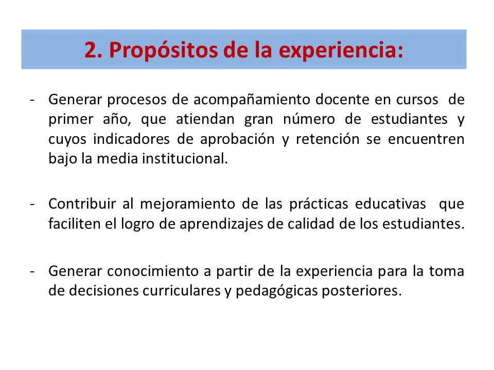 2. Propósitos de la experiencia: -Generar procesos de acompañamiento docente en cursos de primer año, que atiendan gran número de estudiantes y cuyos