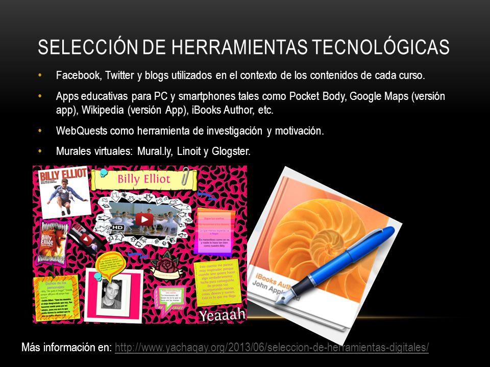 SELECCIÓN DE HERRAMIENTAS TECNOLÓGICAS Facebook, Twitter y blogs utilizados en el contexto de los contenidos de cada curso. Apps educativas para PC y