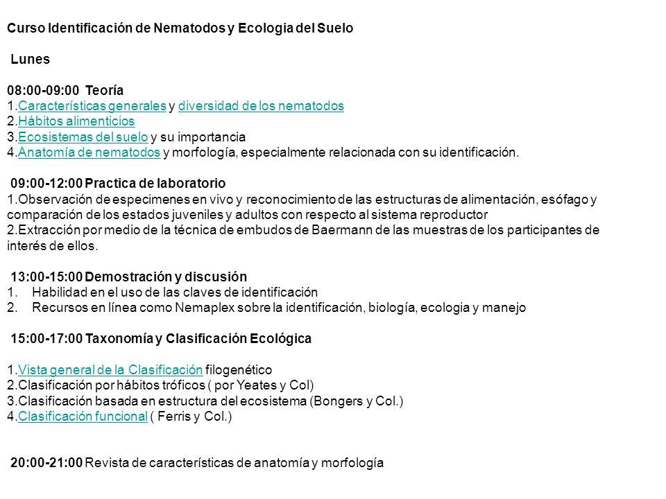 Curso Identificación de Nematodos y Ecologia del Suelo Lunes 08:00-09:00 Teoría 1.Características generales y diversidad de los nematodosCaracterístic