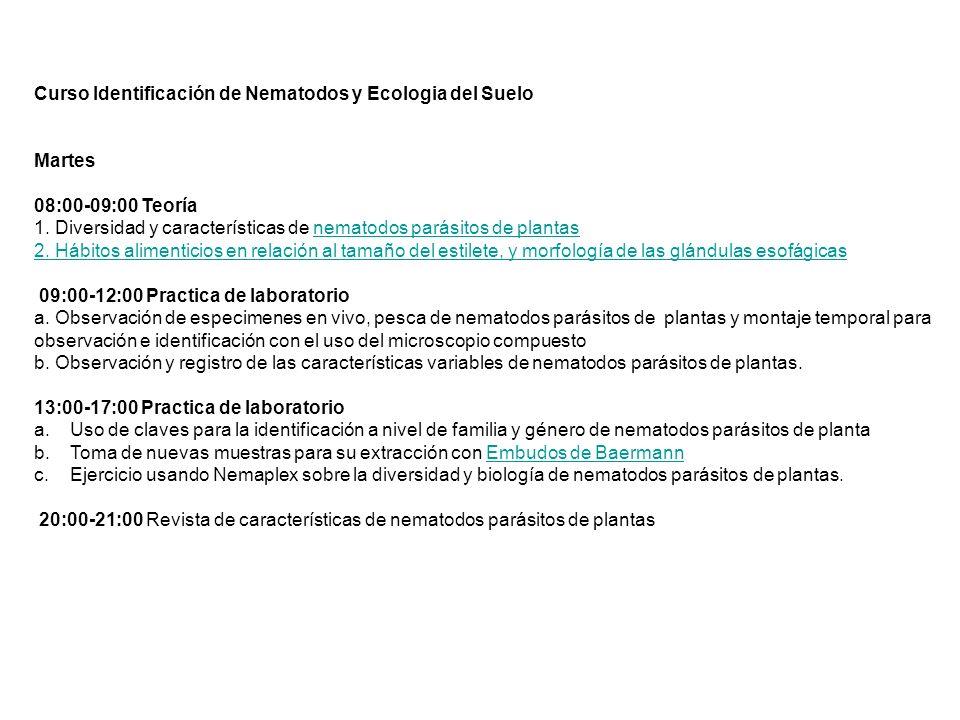 Curso Identificación de Nematodos y Ecologia del Suelo Martes 08:00-09:00 Teoría 1. Diversidad y características de nematodos parásitos de plantasnema