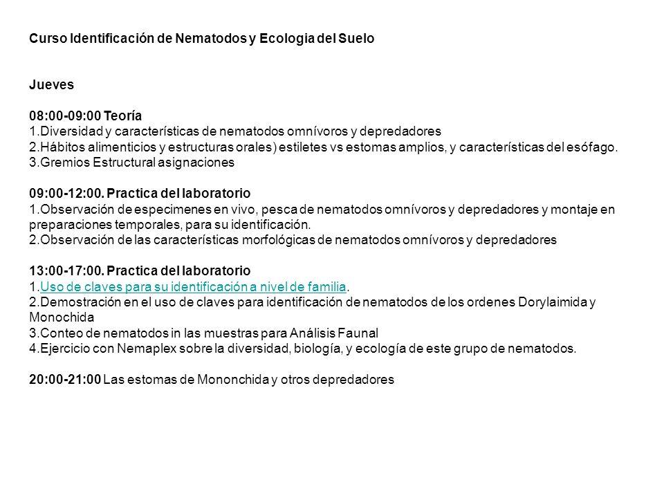 Curso Identificación de Nematodos y Ecologia del Suelo Jueves 08:00-09:00 Teoría 1.Diversidad y características de nematodos omnívoros y depredadores