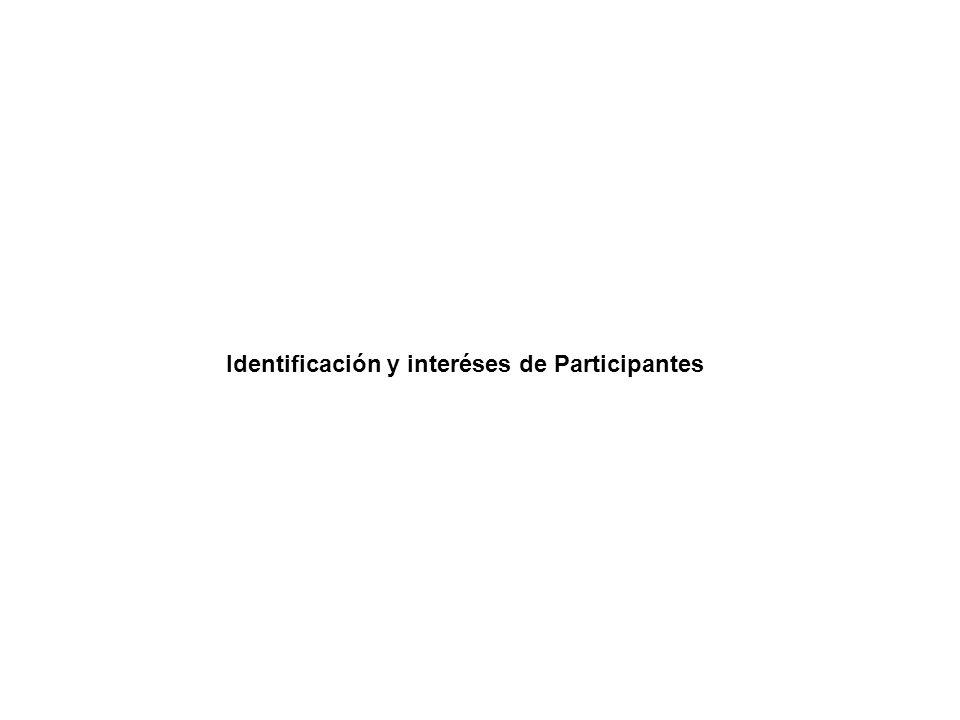 Identificación y interéses de Participantes