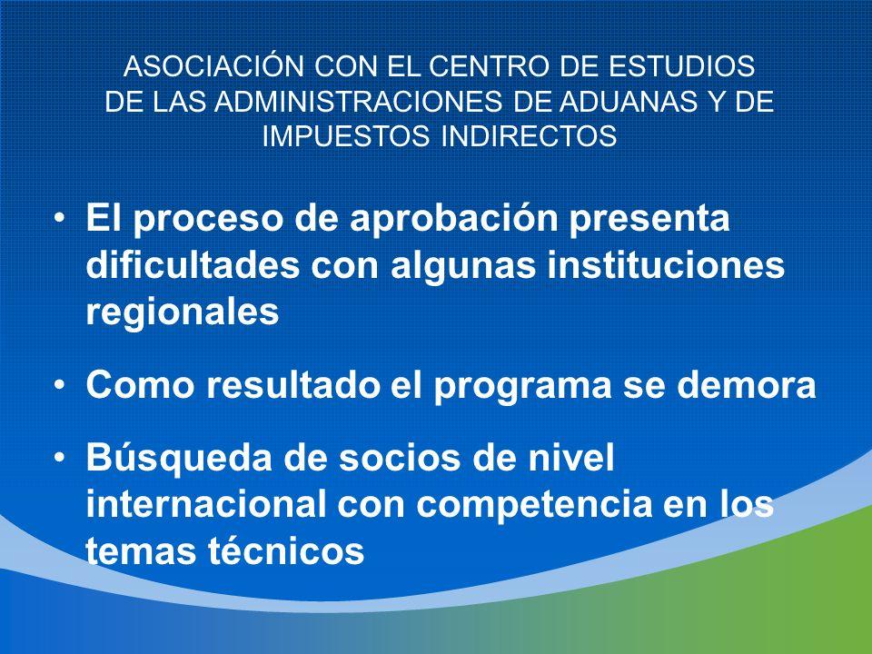 El proceso de aprobación presenta dificultades con algunas instituciones regionales Como resultado el programa se demora Búsqueda de socios de nivel i