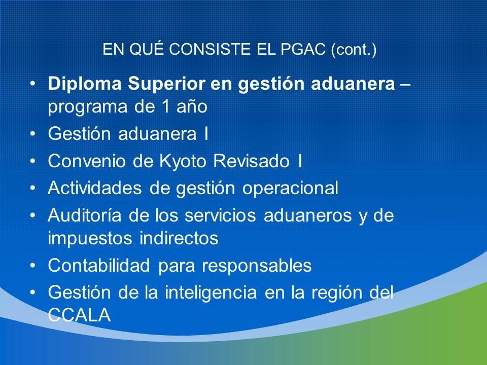 PIRÁMIDE DE LOS CURSOS DE FORMACIÓN EN GESTIÓN Maestrías en Facilitación del Comercio Licenciatura en Gestión Aduanera Diploma Superior en Gestión Aduanera Certificado en Gestión Aduanera