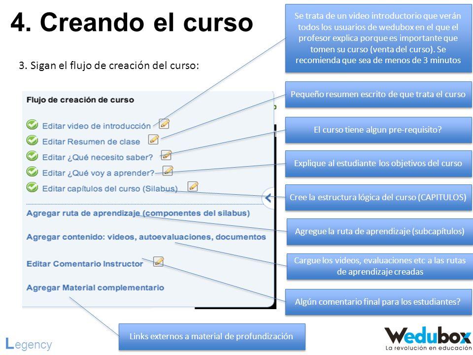 4. Creando el curso L egency 3. Sigan el flujo de creación del curso: Se trata de un video introductorio que verán todos los usuarios de wedubox en el