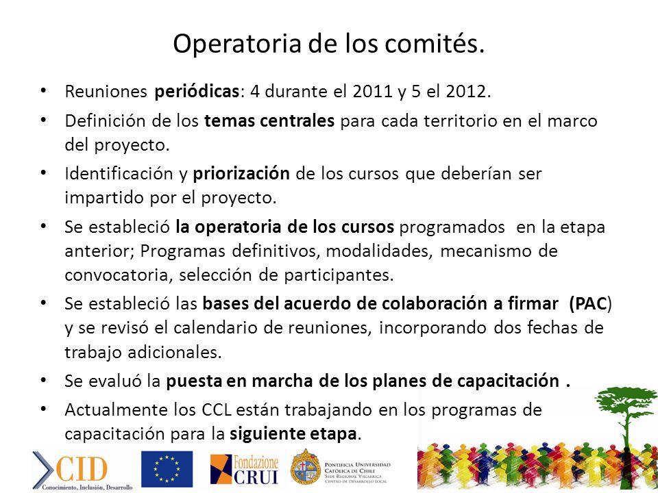 Operatoria de los comités. Reuniones periódicas: 4 durante el 2011 y 5 el 2012.