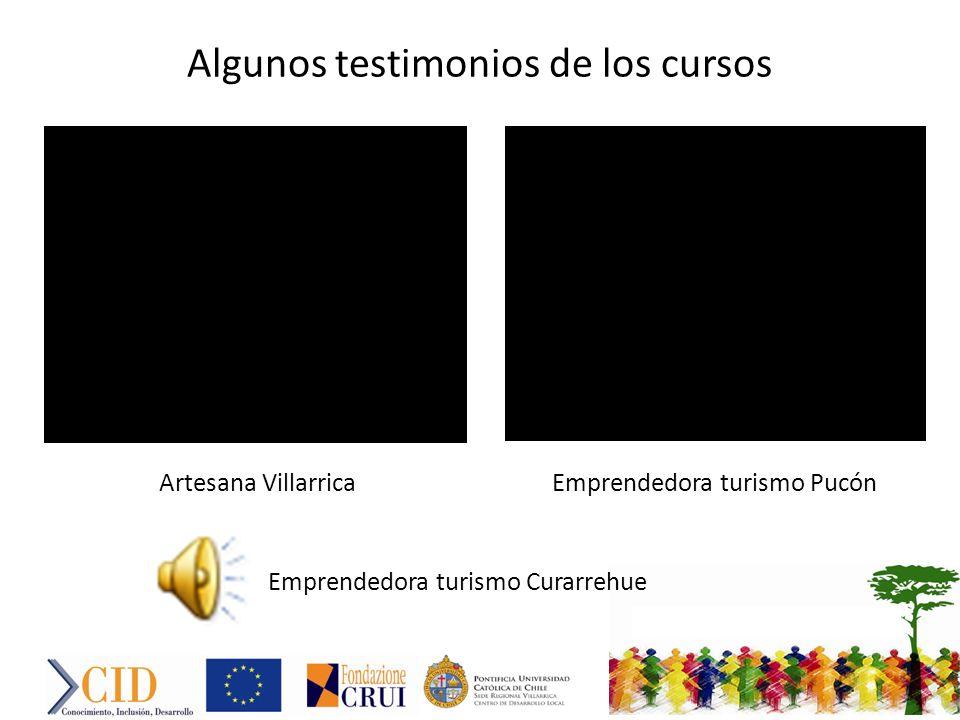 Algunos testimonios de los cursos Artesana VillarricaEmprendedora turismo Pucón Emprendedora turismo Curarrehue