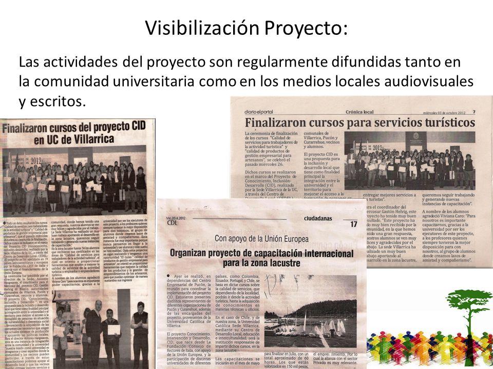 Visibilización Proyecto: Las actividades del proyecto son regularmente difundidas tanto en la comunidad universitaria como en los medios locales audiovisuales y escritos.