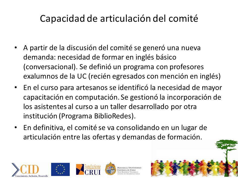 Capacidad de articulación del comité A partir de la discusión del comité se generó una nueva demanda: necesidad de formar en inglés básico (conversacional).