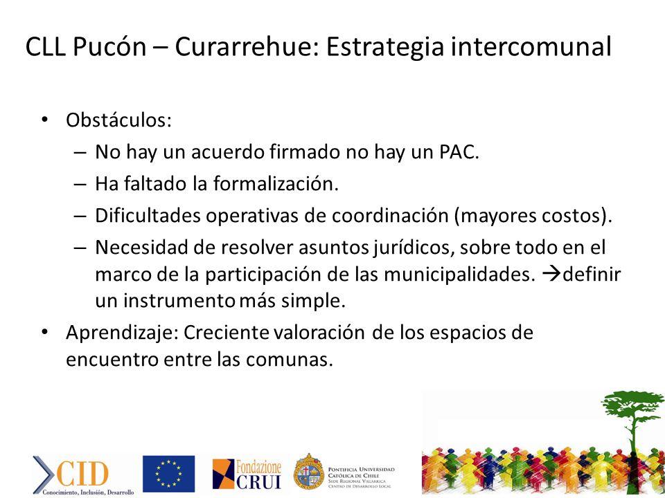CLL Pucón – Curarrehue: Estrategia intercomunal Obstáculos: – No hay un acuerdo firmado no hay un PAC.