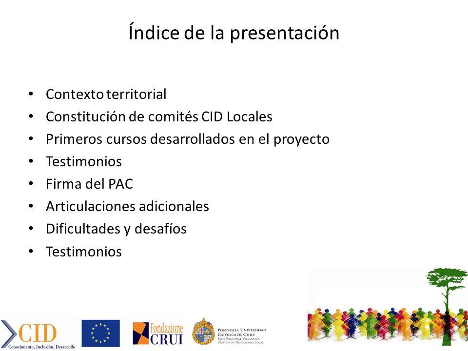 Índice de la presentación Contexto territorial Constitución de comités CID Locales Primeros cursos desarrollados en el proyecto Testimonios Firma del PAC Articulaciones adicionales Dificultades y desafíos Testimonios