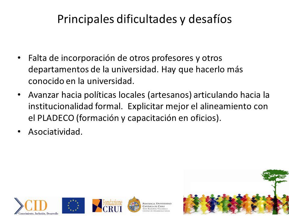 Principales dificultades y desafíos Falta de incorporación de otros profesores y otros departamentos de la universidad.