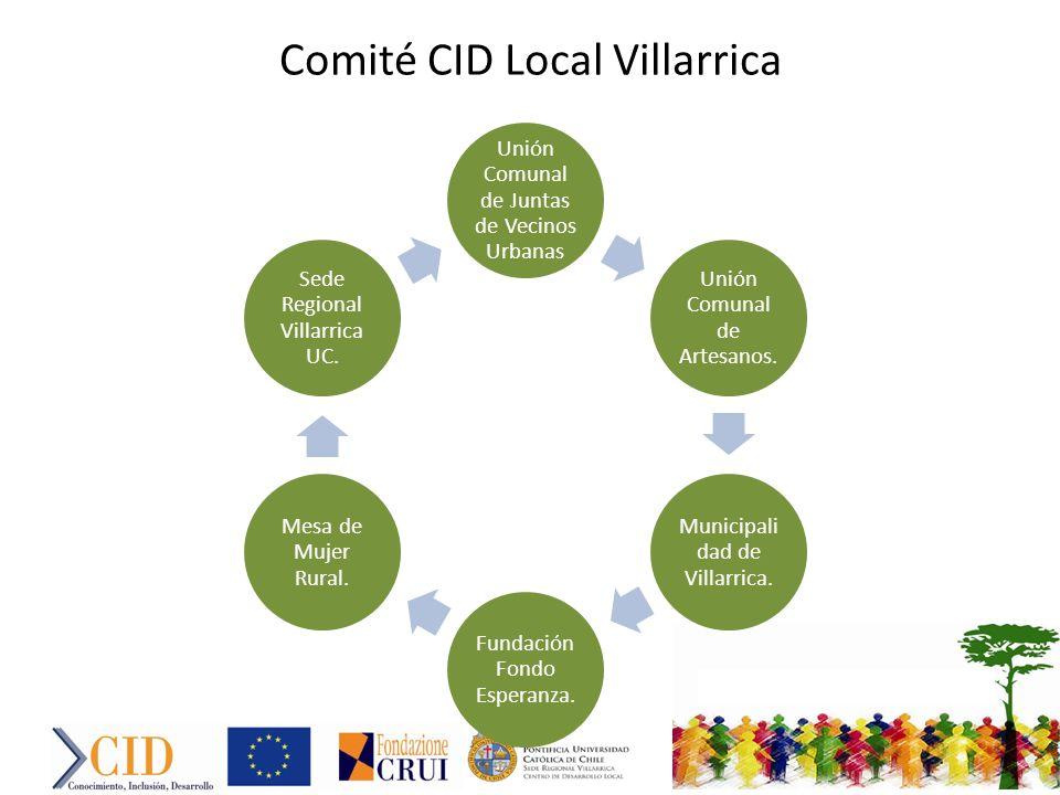 Comité CID Local Villarrica Unión Comunal de Juntas de Vecinos Urbanas Unión Comunal de Artesanos.