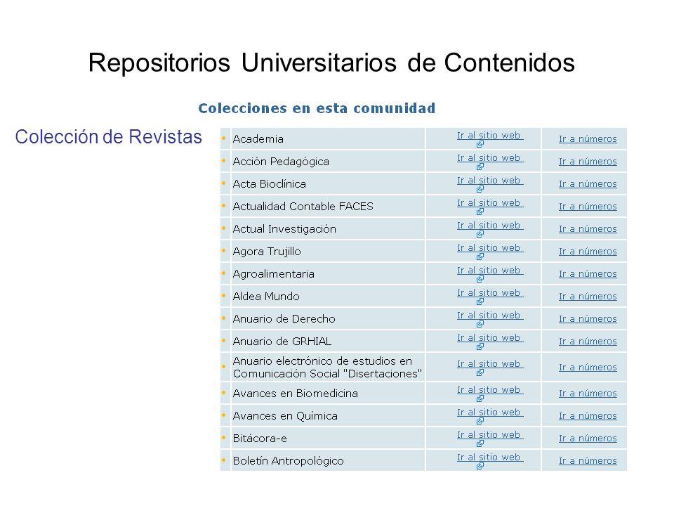 Repositorios Universitarios de Contenidos Colección de Revistas