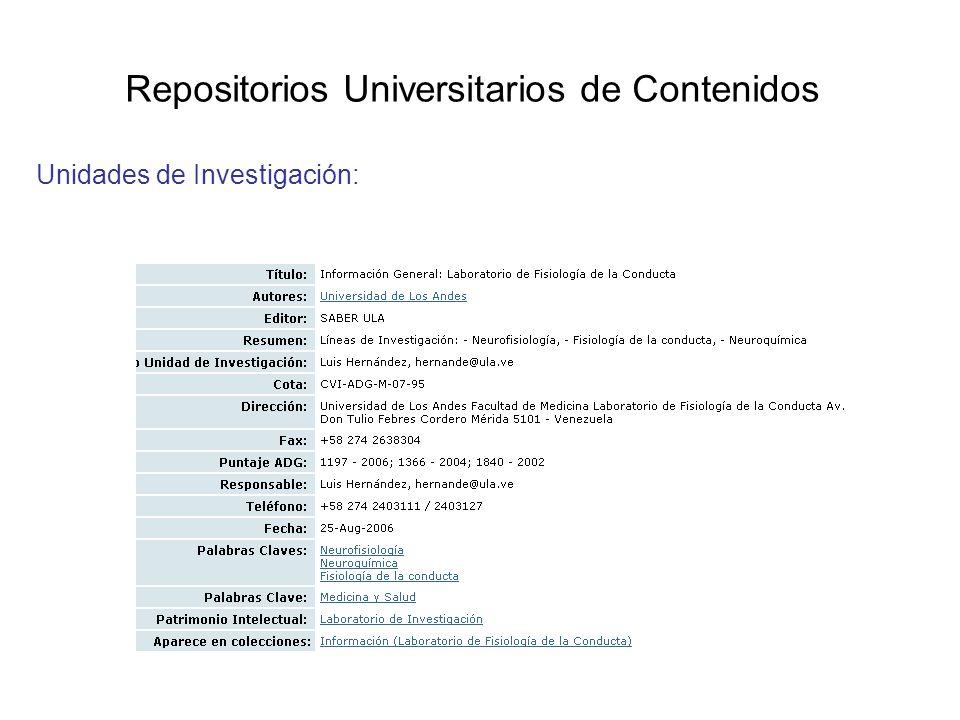 Repositorios Universitarios de Contenidos Unidades de Investigación: