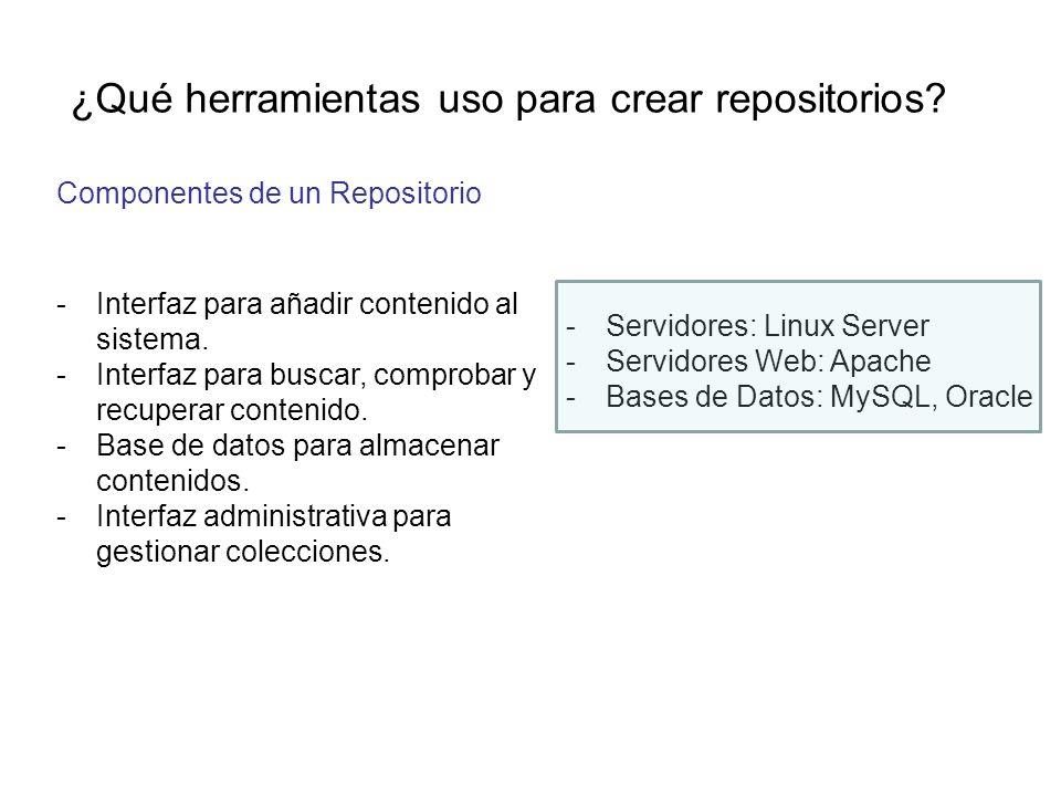 ¿Qué herramientas uso para crear repositorios? Componentes de un Repositorio -Interfaz para añadir contenido al sistema. -Interfaz para buscar, compro