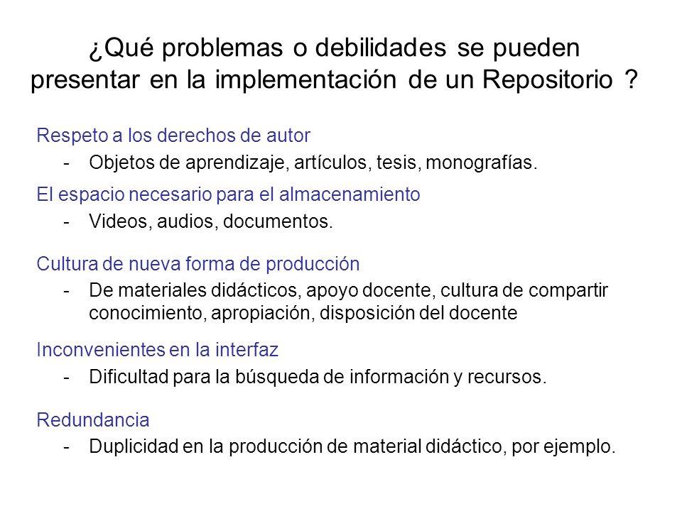 ¿Qué problemas o debilidades se pueden presentar en la implementación de un Repositorio ? Respeto a los derechos de autor -Objetos de aprendizaje, art