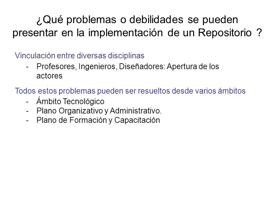 ¿Qué problemas o debilidades se pueden presentar en la implementación de un Repositorio ? Vinculación entre diversas disciplinas -Profesores, Ingenier