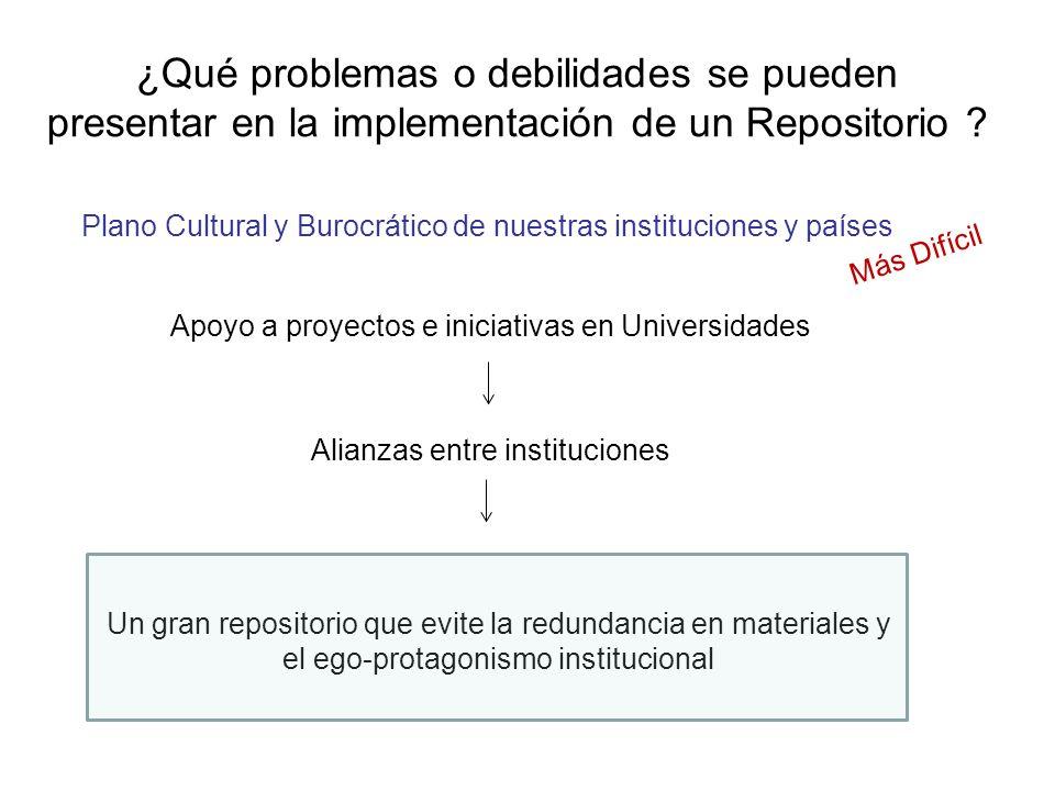 ¿Qué problemas o debilidades se pueden presentar en la implementación de un Repositorio ? Plano Cultural y Burocrático de nuestras instituciones y paí