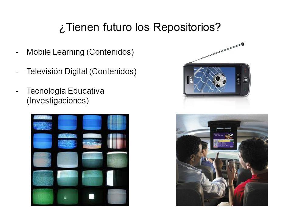 ¿Tienen futuro los Repositorios? -Mobile Learning (Contenidos) -Televisión Digital (Contenidos) -Tecnología Educativa (Investigaciones)