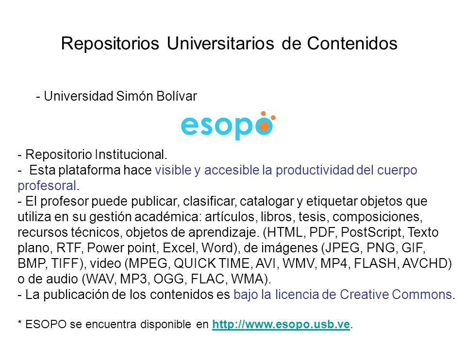 Repositorios Universitarios de Contenidos - Universidad Simón Bolívar - Repositorio Institucional. - Esta plataforma hace visible y accesible la produ