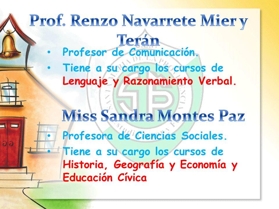 Profesora de Inglés. Tiene a su cargo el curso de Inglés. Coordinadora del Local de secundaria.