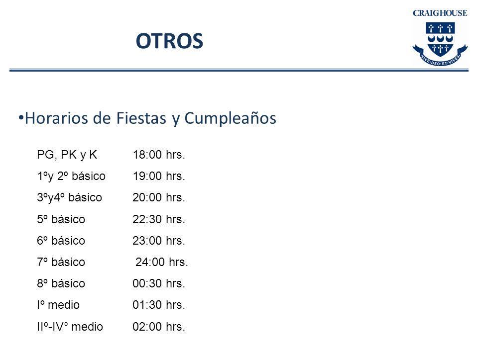 OTROS Horarios de Fiestas y Cumpleaños PG, PK y K 18:00 hrs. 1ºy 2º básico 19:00 hrs. 3ºy4º básico 20:00 hrs. 5º básico 22:30 hrs. 6º básico 23:00 hrs