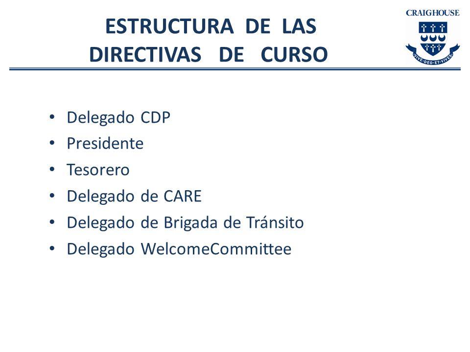 ESTRUCTURA DE LAS DIRECTIVAS DE CURSO Delegado CDP Presidente Tesorero Delegado de CARE Delegado de Brigada de Tránsito Delegado WelcomeCommittee