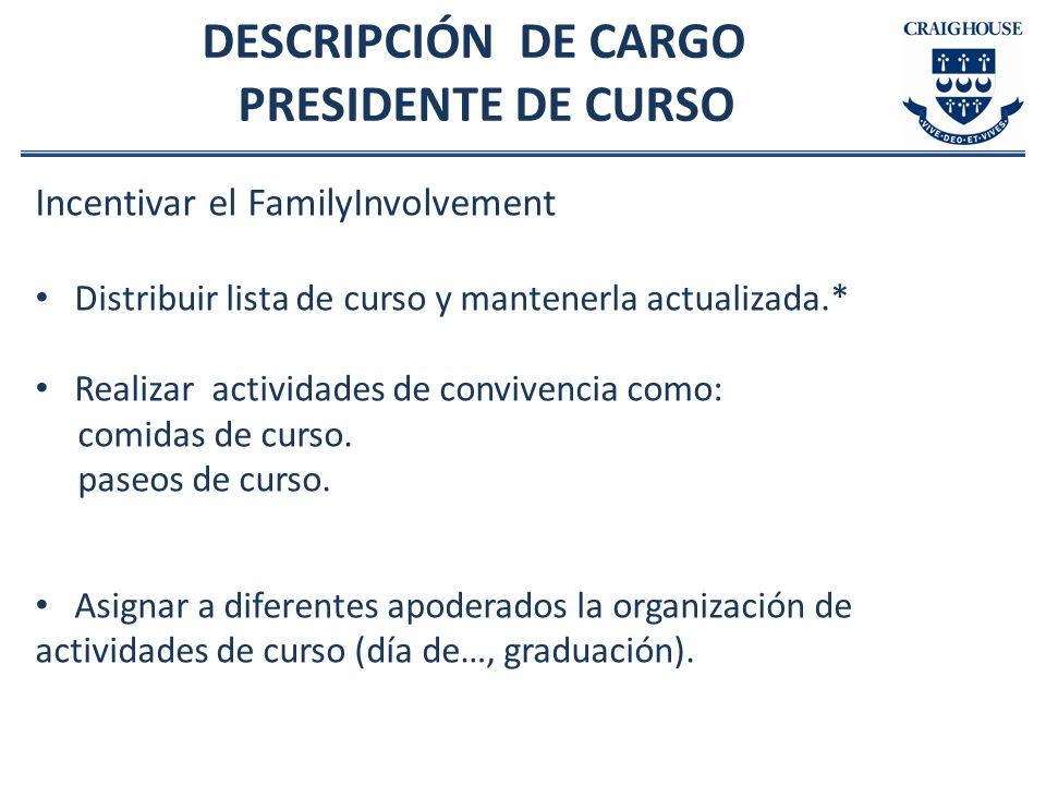 DESCRIPCIÓN DE CARGO PRESIDENTE DE CURSO Incentivar el FamilyInvolvement Distribuir lista de curso y mantenerla actualizada.* Realizar actividades de