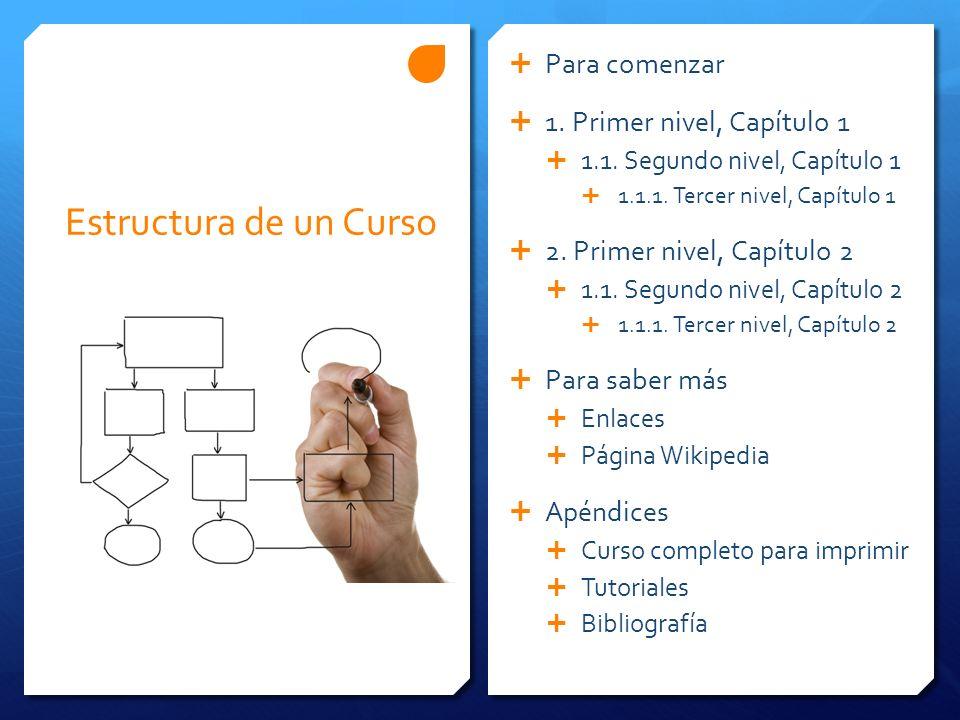 Estructura de un Curso Para comenzar 1.Primer nivel, Capítulo 1 1.1.