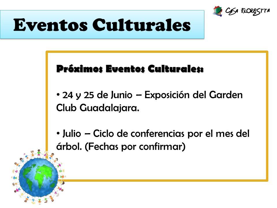 Eventos Culturales Próximos Eventos Culturales: 24 y 25 de Junio – Exposición del Garden Club Guadalajara. Julio – Ciclo de conferencias por el mes de