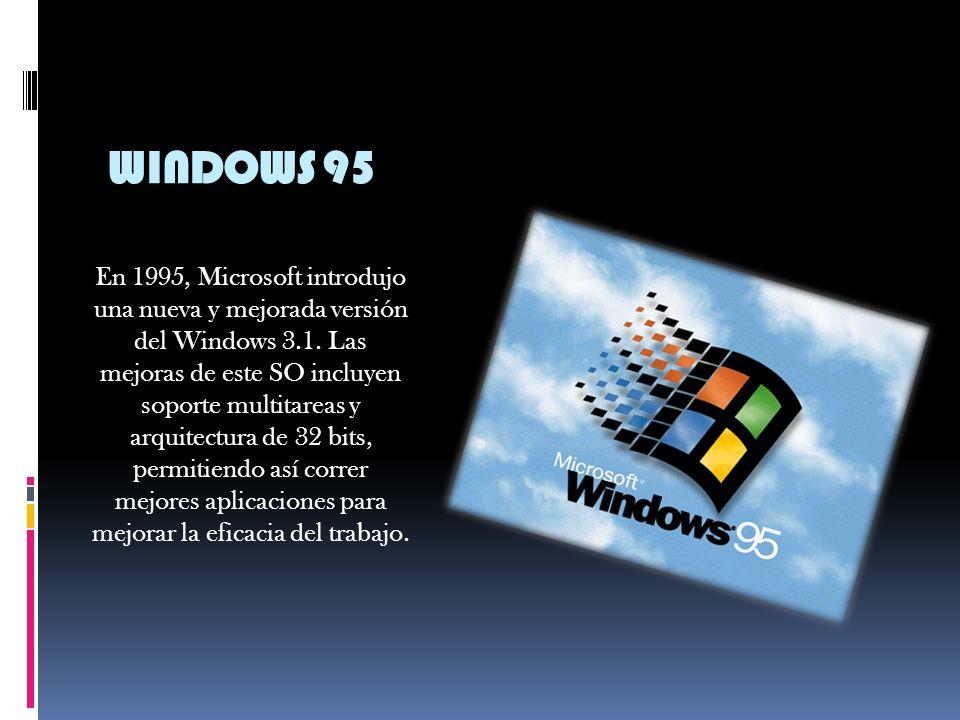 WINDOWS 3.1 Microsoft tomo una decisión, hacer un sistema operativo que tuviera una interfaz gráfica amigable para el usuario, y como resultado obtuvo